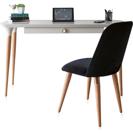 Princeton Desk and Geni Chair - Off-White/Black
