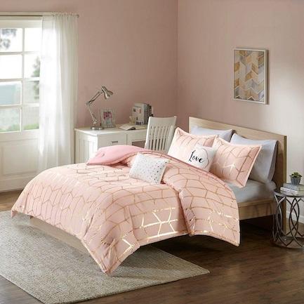 Raina 4-Piece Twin Bedding Set - Blush