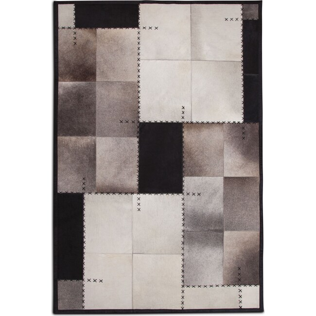Rugs - Rhys Area Rug - Black and Ivory