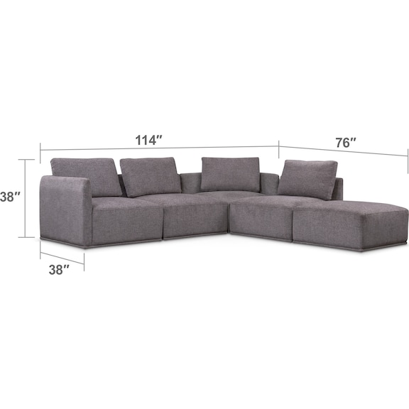 Living Room Furniture - Rio 5-Piece Sectional with 2 Armless Chairs and Ottoman