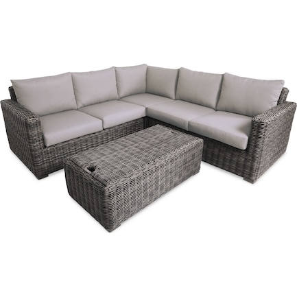 Riverside 3-Piece Outdoor Sectional and Coffee Table Set
