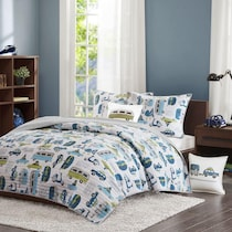 road trip blue and green twin bedding set