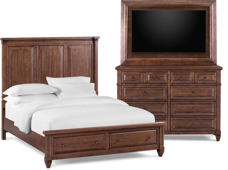 Bedroom Furniture - Rosalie 5-Piece Storage Bedroom Set with Dresser and TV Mount