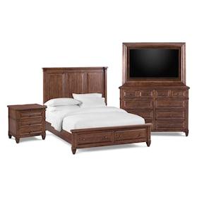 Rosalie 6-Piece Storage Bedroom Set with Nightstand, Dresser and TV Mount