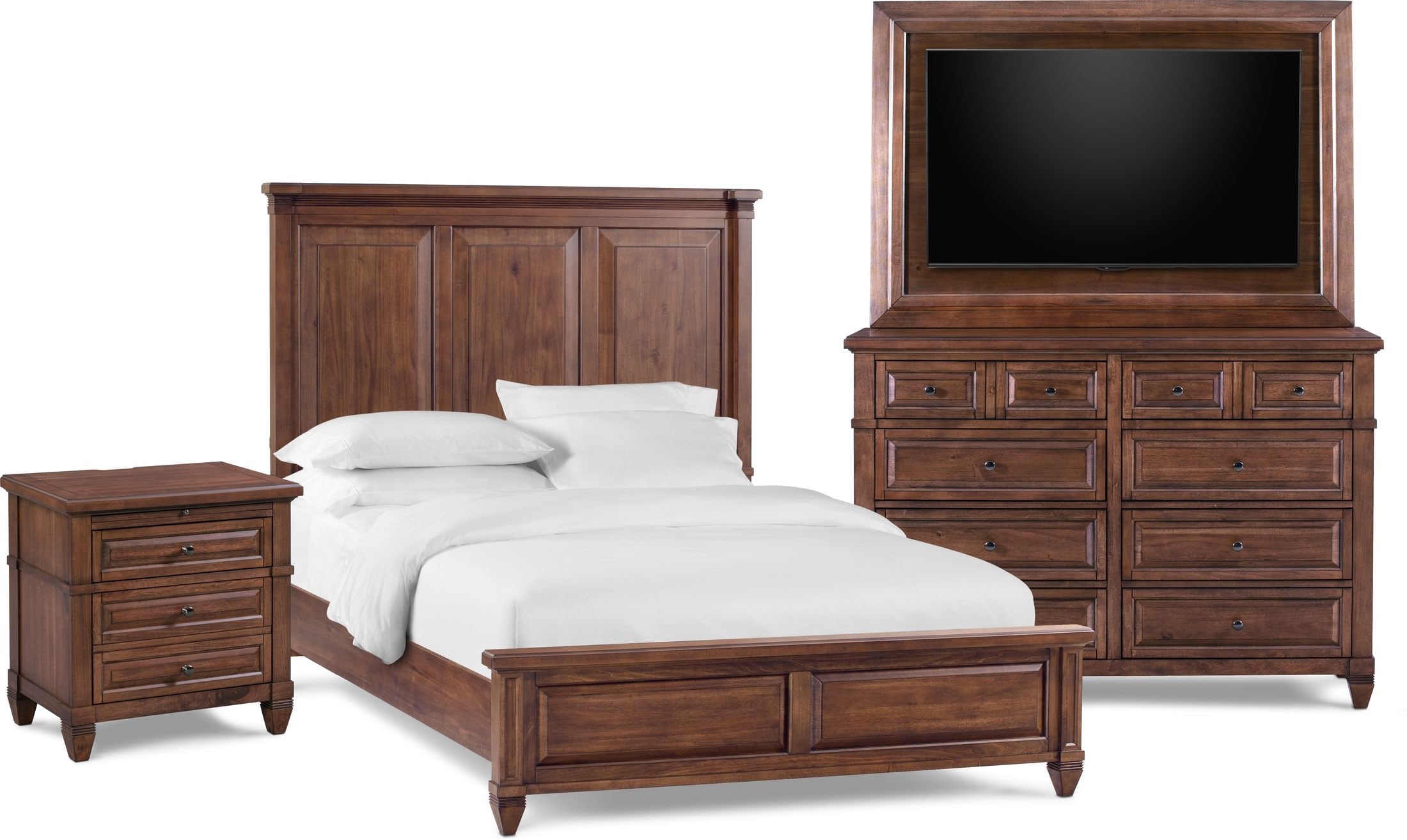 Bedroom Furniture - Rosalie 6-Piece Bedroom Set with Nightstand, Dresser and TV Mount