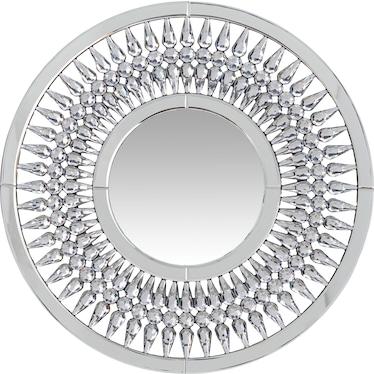 Round Crystal Spoke Wall Mirror
