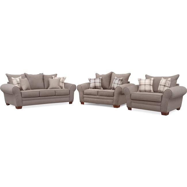 Living Room Furniture - Rowan Sofa, Loveseat and Chair and a Half