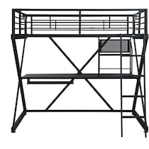 ryker black twin loft bed with desk