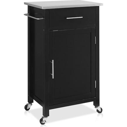 Rylan Small Storage Cart - Black/Stainless Steel Top