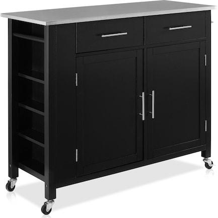 Rylan Storage Cart - Black/Stainless Steel Top