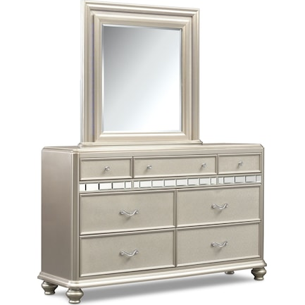 Sabrina Dresser and Mirror - Platinum