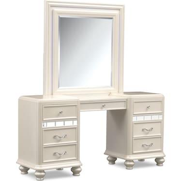 Sabrina Vanity and Mirror - Pearl