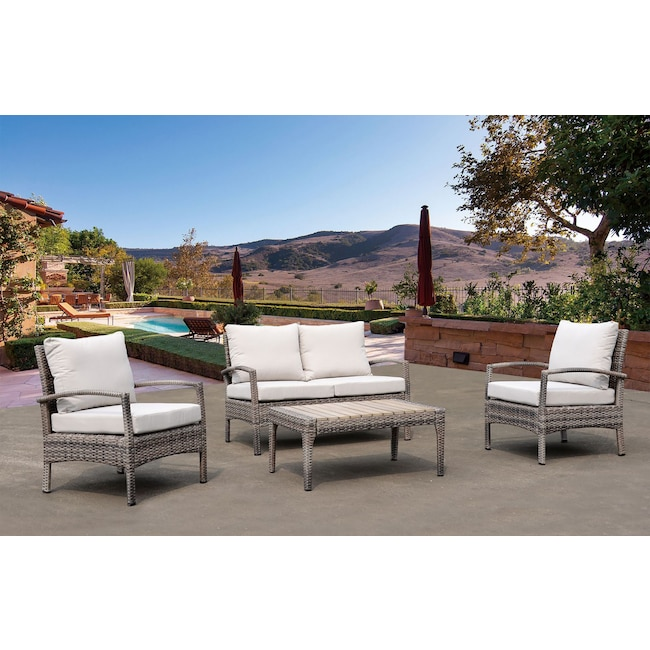 Outdoor Furniture - Sand Point Outdoor Loveseat, 2 Chairs and Coffee Table Set