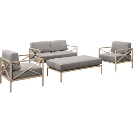 Sandbar Outdoor Loveseat, 2 Armchairs, and Ottoman Set - Gray