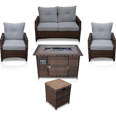 Santa Cruz Outdoor Loveseat, Set of 2 Chairs, End Table and Fire Table - Brown