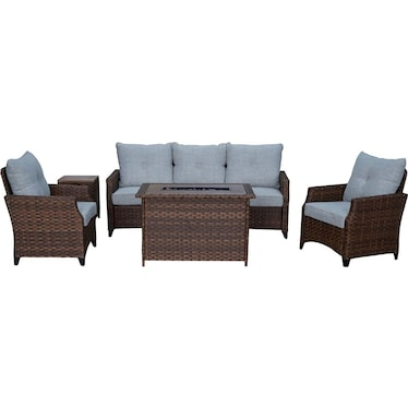 Santa Cruz Outdoor Sofa, Set of 2 Chairs, End Table and Fire Table - Brown
