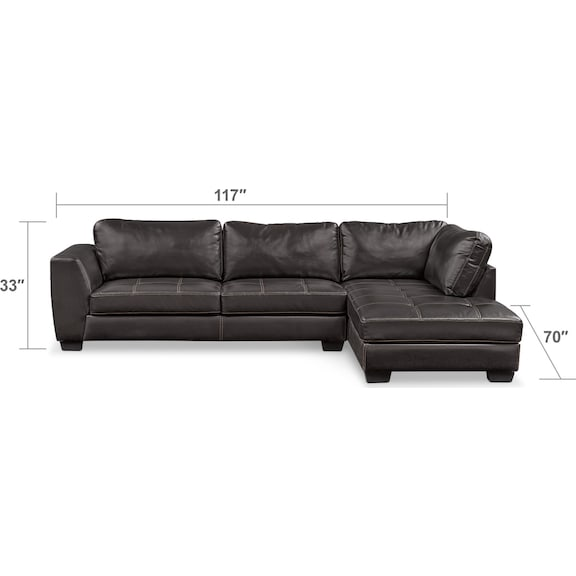 Living Room Furniture - Santana 2-Piece Sectional with Chaise