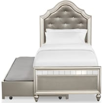serena youth platinum silver twin bed with trundle