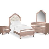 serena youth rose quartz pink  pc twin bedroom
