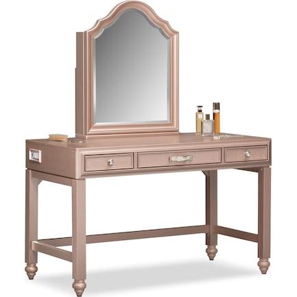 Serena Vanity and Mirror - Rose Quartz