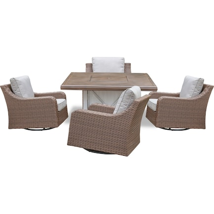 Shoreline Outdoor Fire Table and 4 Swivel Rockers