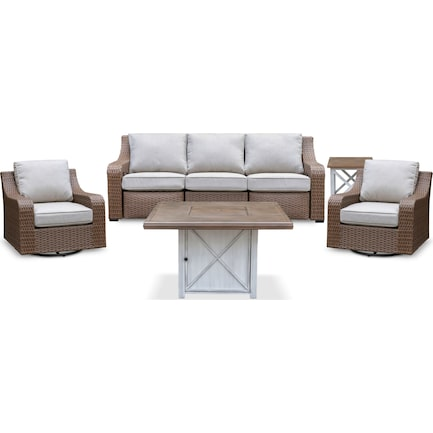 Shoreline Outdoor Reclining Sofa, 2 Swivel Rockers, Fire Table and End Table