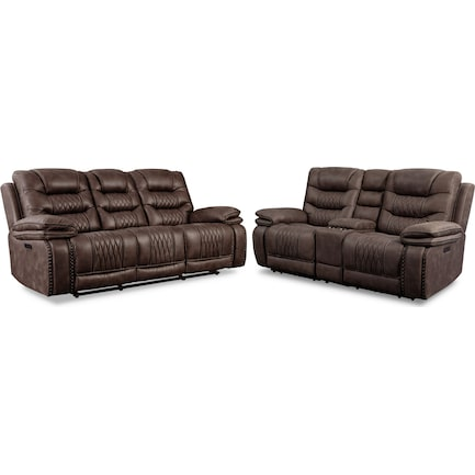 Sorrento Dual-Power Reclining Sofa and Loveseat Set - Brown