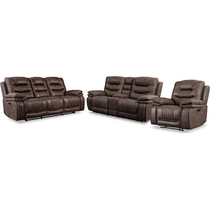 Sorrento Dual-Power Reclining Sofa, Loveseat and Recliner - Brown