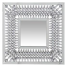 Square Crystal Spoke Wall Mirror