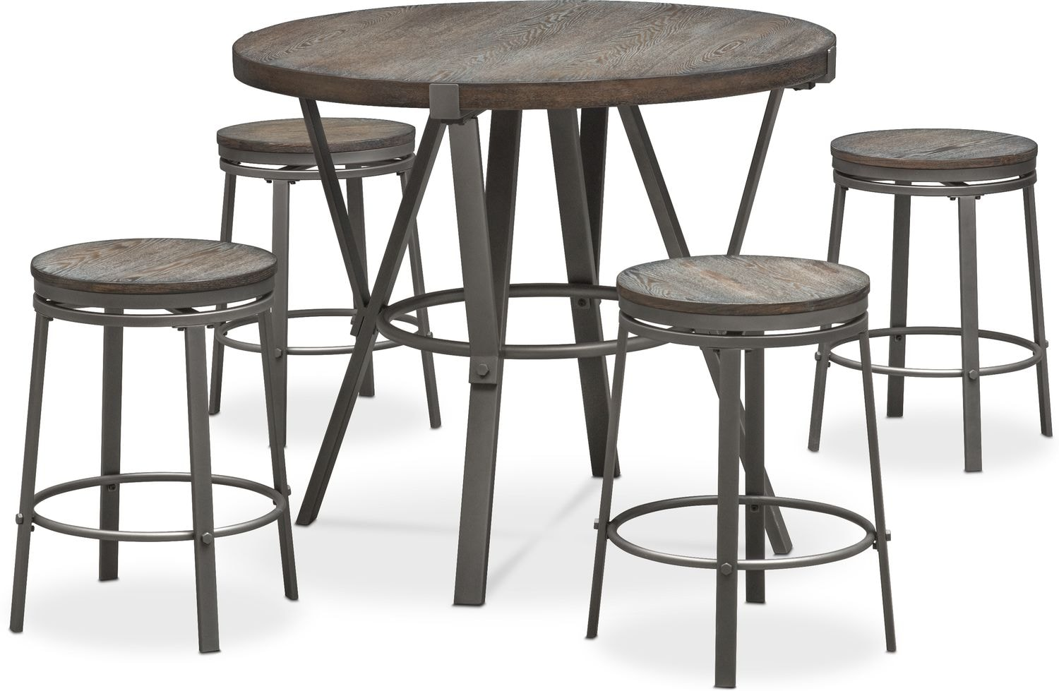 Dining Room Furniture - Stratton Counter-Height Table and 4 Stools