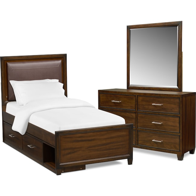 Bedroom Furniture - Sullivan 5-Piece Upholstered Storage Bedroom Set with Dresser and Mirror