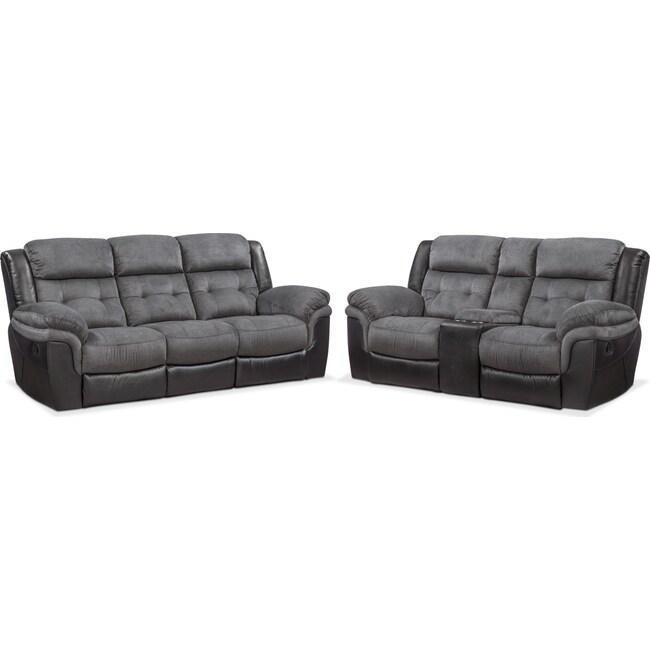 Living Room Furniture - Tacoma Manual Reclining Sofa and Loveseat Set