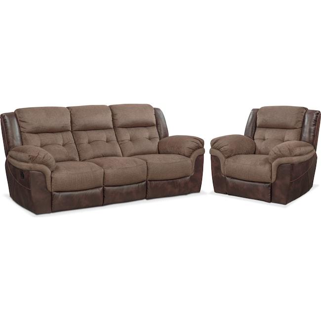 Living Room Furniture - Tacoma Manual Reclining Sofa and Glider Recliner Set