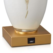 tawny white and gold table lamp