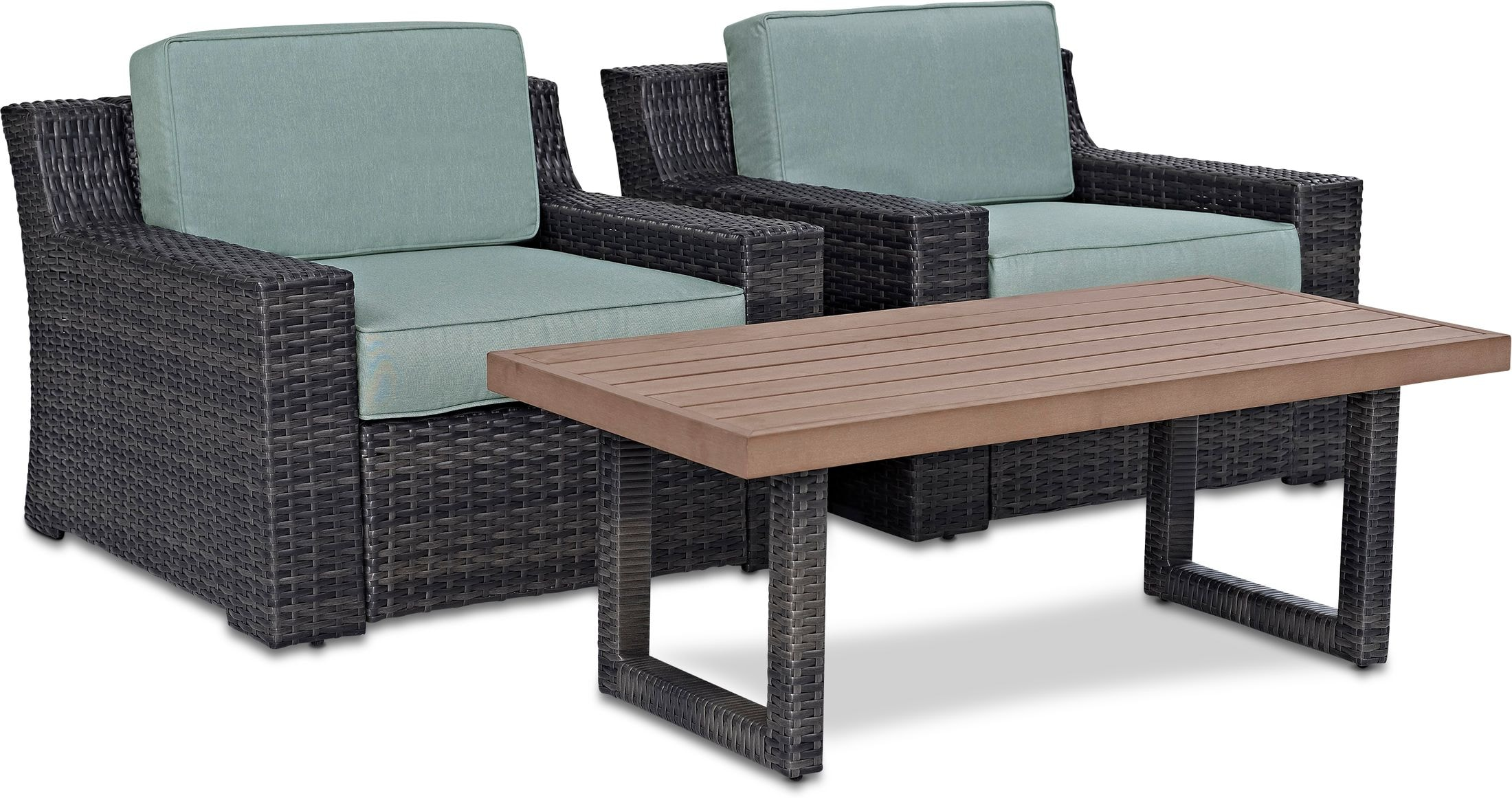 Outdoor Furniture - Tethys Set of 2 Outdoor Chairs and Coffee Table Set