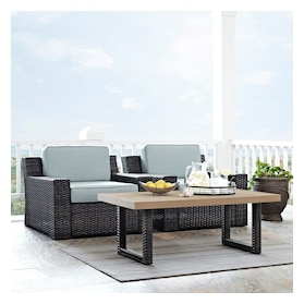 Tethys Set of 2 Outdoor Chairs and Coffee Table Set