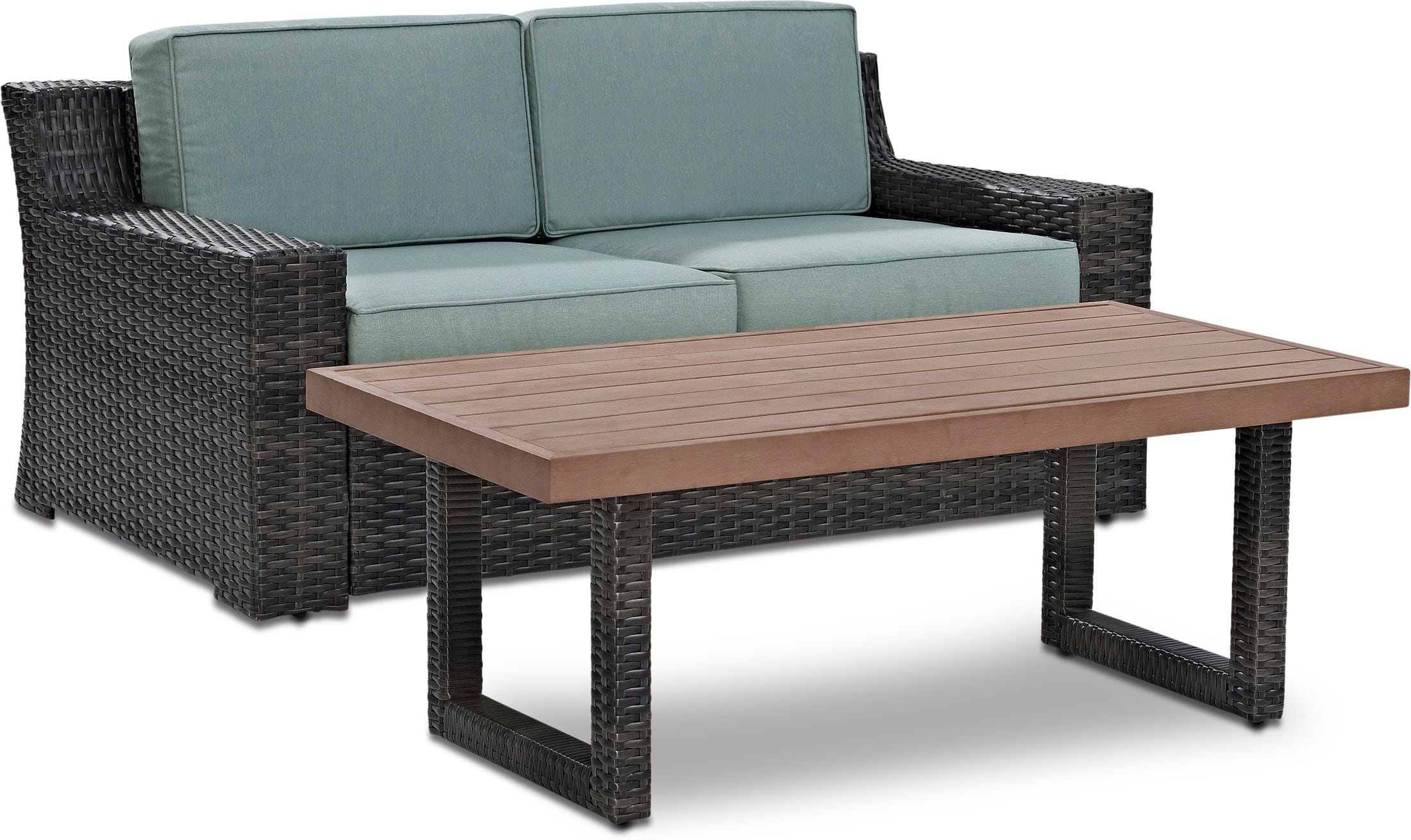 Outdoor Furniture - Tethys Outdoor Loveseat and Coffee Table Set