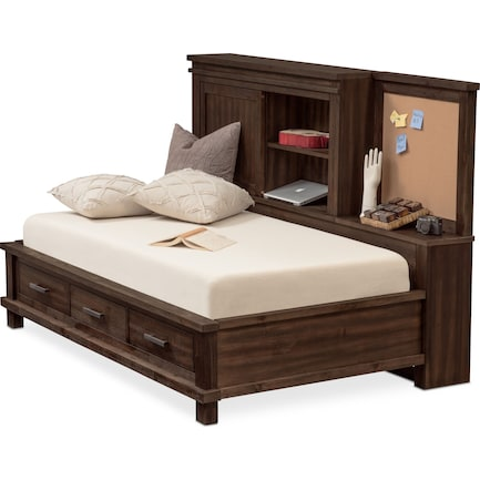 Tribeca Youth Twin Lounge Storage Bed - Tobacco