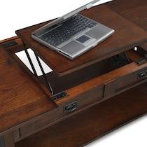 tribute dark brown lift top coffee table