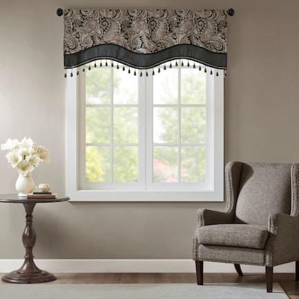 "Venetia 18"" Window Valance with Beads - Black"