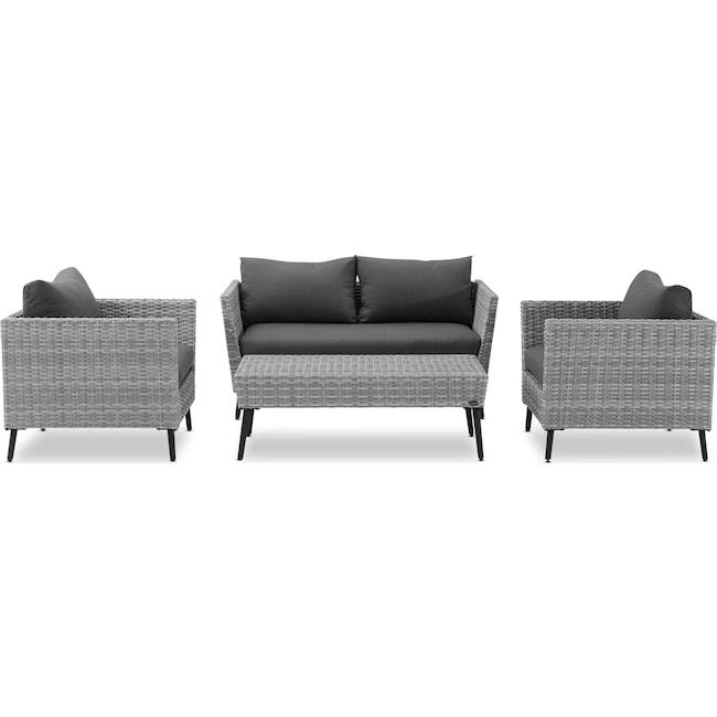 Outdoor Furniture - Ventura Outdoor Loveseat, 2 Chairs, and Coffee Table Set