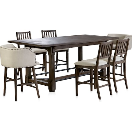 Vernon Counter-Height Dining Table and 4 Slat Back Stools and 2 Tub Stools