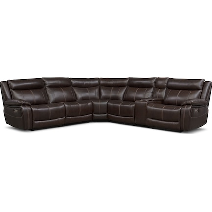 Vince 6-Piece Dual-Power Reclining Sectional with 3 Reclining Seats - Brown