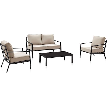 Watson Outdoor Loveseat, 2 Armchairs, and Coffee Table Set - Black