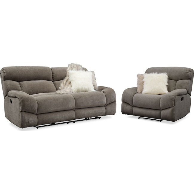 Living Room Furniture - Wave Manual Reclining Sofa and Recliner Set