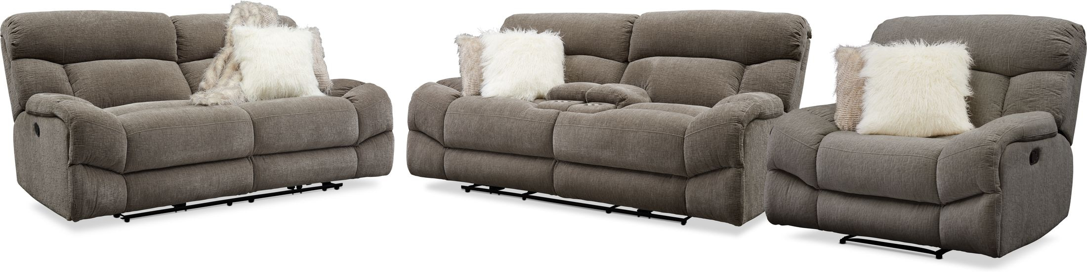 Living Room Furniture - Wave Manual Reclining Sofa, Loveseat and Recliner