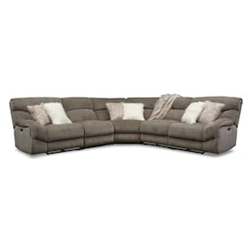 Wave 5-Piece Dual-Power Reclining Sectional with 3 Reclining Seats and Recliner