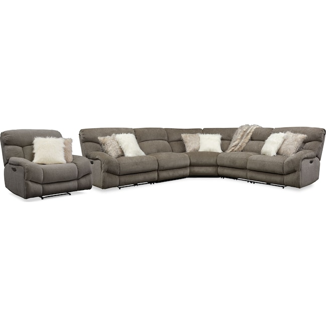 Living Room Furniture - Wave 5-Piece Dual-Power Reclining Sectional with 3 Reclining Seats and Recliner