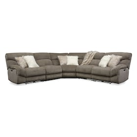Wave 5-Piece Dual-Power Reclining Sectional with 2 Reclining Seats and Recliner