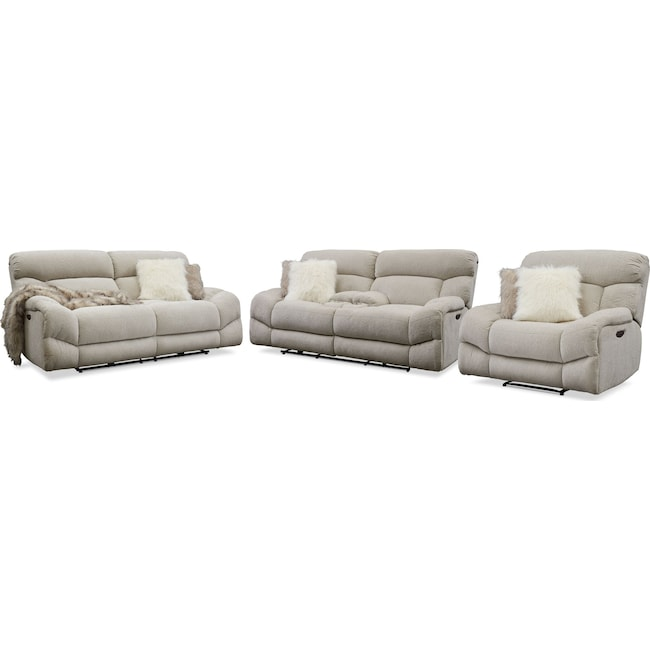 Living Room Furniture - Wave Dual-Power Reclining Sofa, Loveseat and Recliner